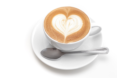 Coffee with a heart made of cream