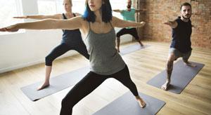 Cool yoga class