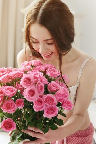 Woman getting flowers