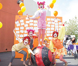 Crazy clowns at Happiness Wall