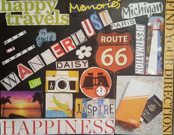 Travel happiness collage