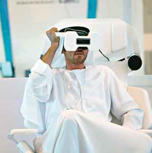 Arab man in VR headset
