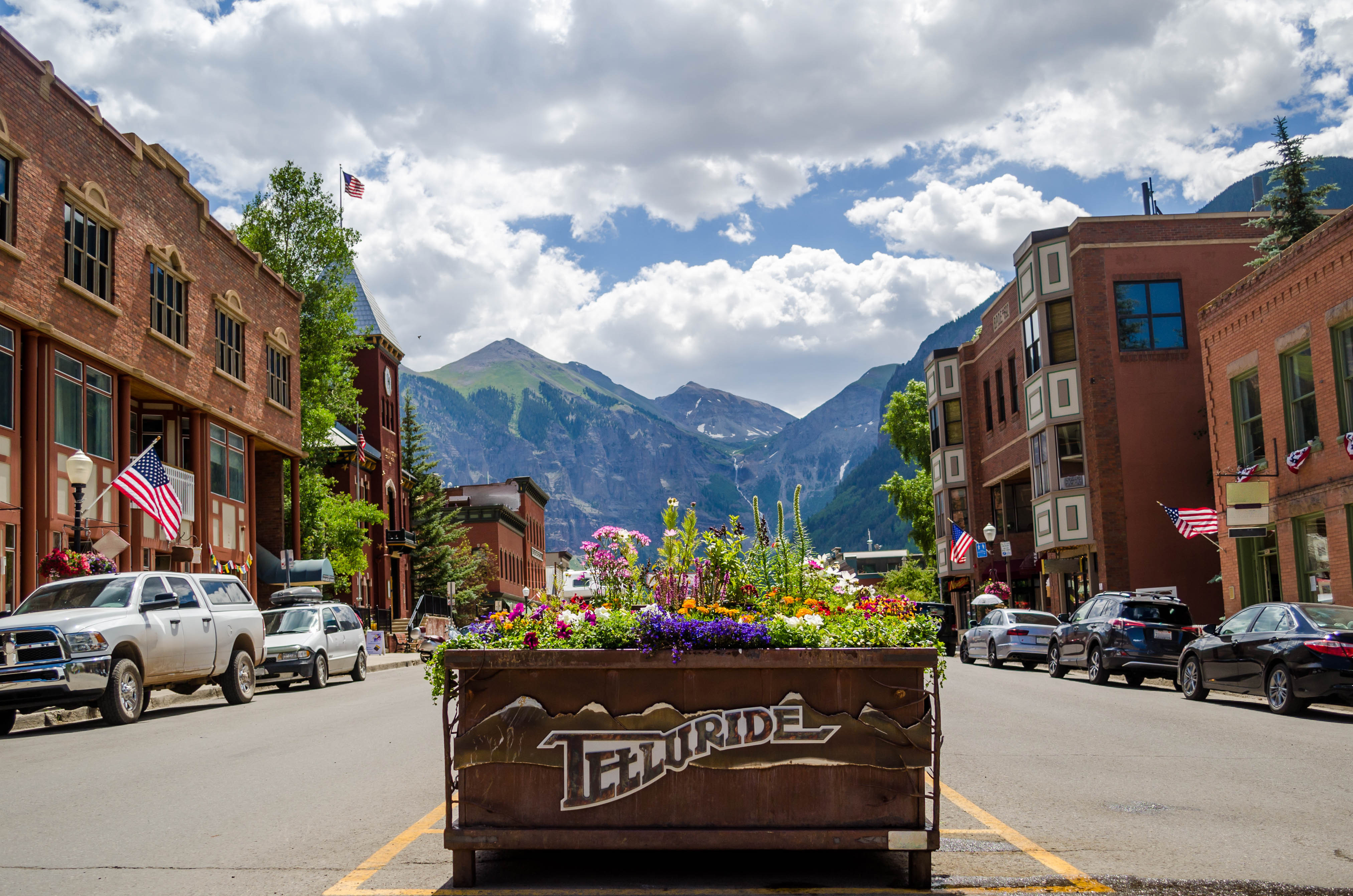 a flower box in downtown Telluride, Colorado