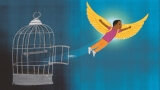 Illustration of boy flying out of a cage.