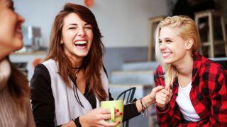 Happy women in a cafe