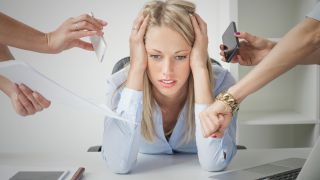 overwhelmed business woman, stress
