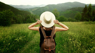 Woman backpacker