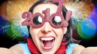Woman in 2017 glasses taking selfie