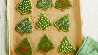 Healthy Christmas cookies on a tray.
