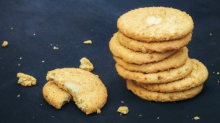 A stack of crumbling cookies