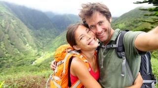 Hiking couple - Active young couple in love.