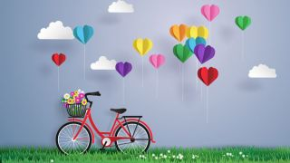Bicycle with hearts