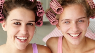 Friends in curlers