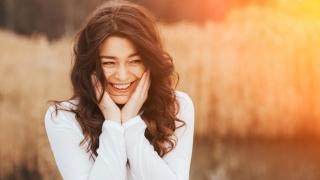 Very happy, beautiful woman