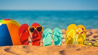 Sandals on a beach.