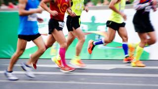 Marathoners running a race.