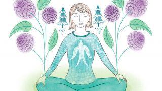 Spiritual illustration of woman mediating