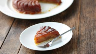 Tarte tatin slice and whole tart
