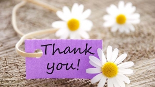 Purple thank you card with flowers