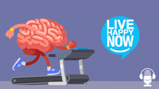 Illustration of a brain running on a treadmill