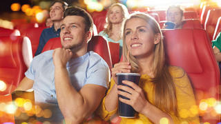 People watching a happy movie