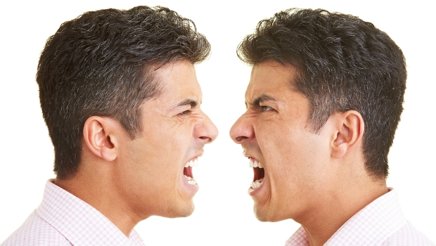 Twins shouting at each other