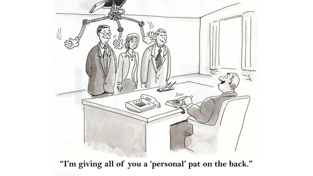 A 'personal' pat on the back cartoon image.