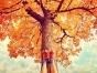 Person resting against beautiful tree