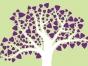 Illustration of tree with purple hearts