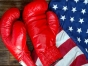 American flag and a pair of boxing gloves.