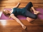 Woman doing restorative yoga
