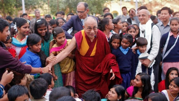 Dalai Lama with a crowd of people