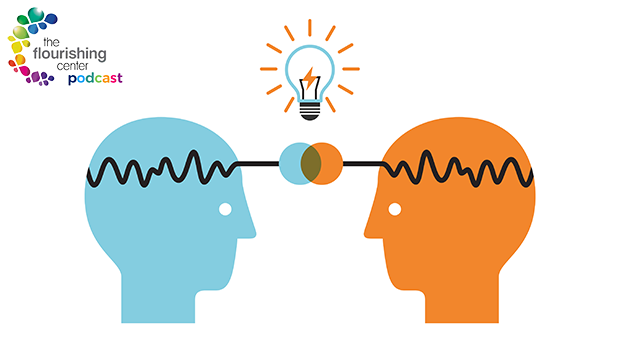 Illustration of brains forming an idea