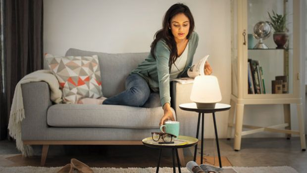 Woman with calming lamp