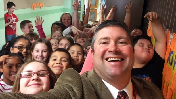 Superintendent Aaron Sadoff with students