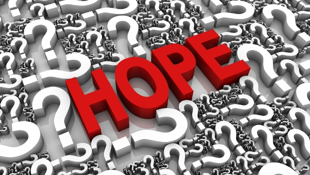 Hope 3D text surrounded by question marks.
