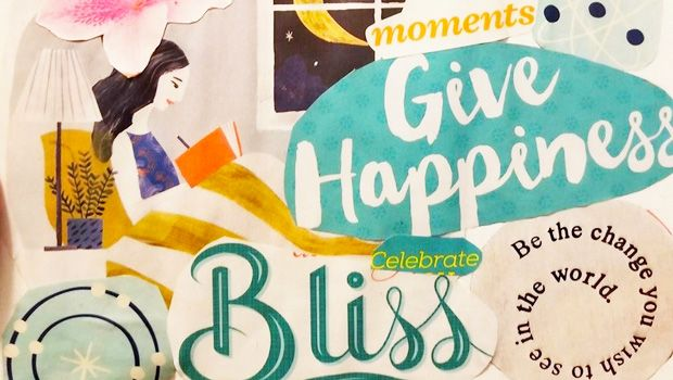 Collage of Live Happy magazine images