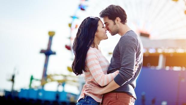 Romantic couple on a pier.