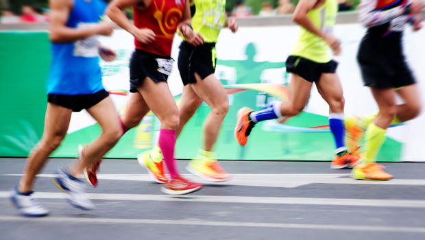 Marathoners running a race.