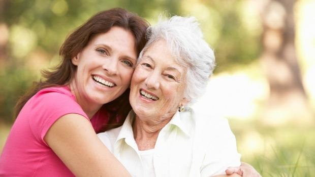 Two women embracing