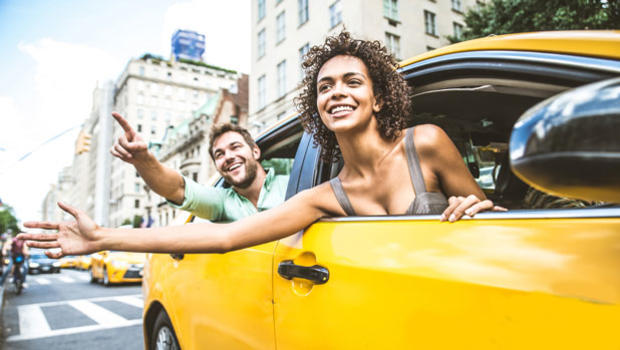 Couple in a taxi in Manhattan