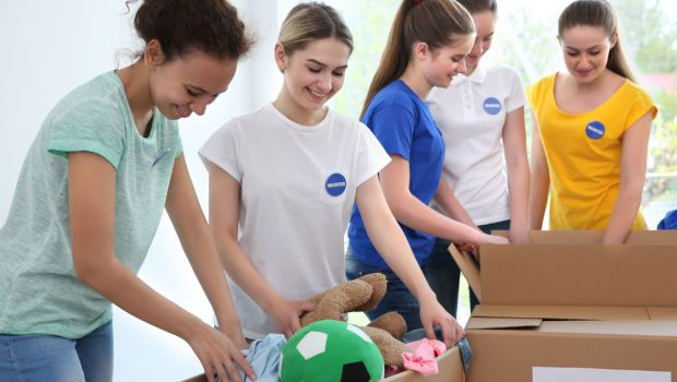 young people donating items
