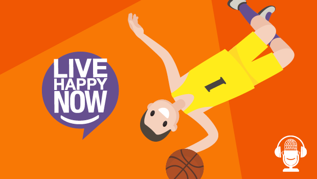 Illustration of a guy flipping with a basket ball