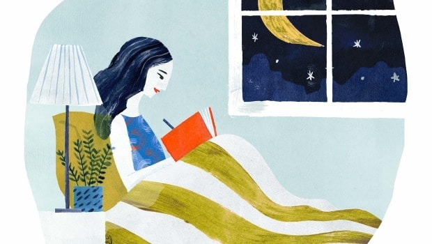 Illustration of woman writing in gratitude journal.