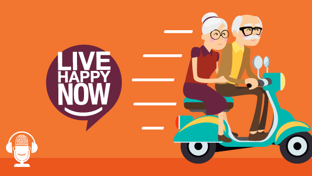 Elderly couple riding a scooter