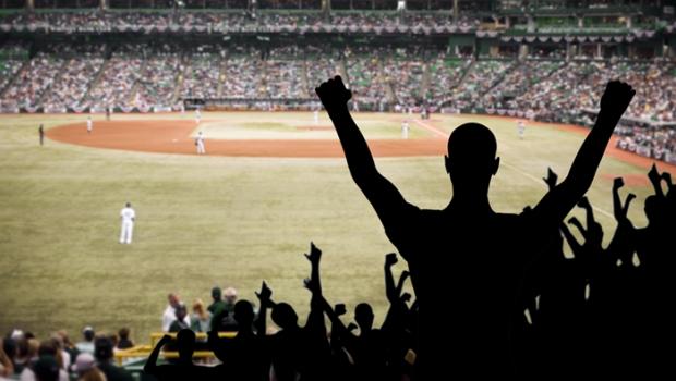 People Cheering at a Baseball Game.