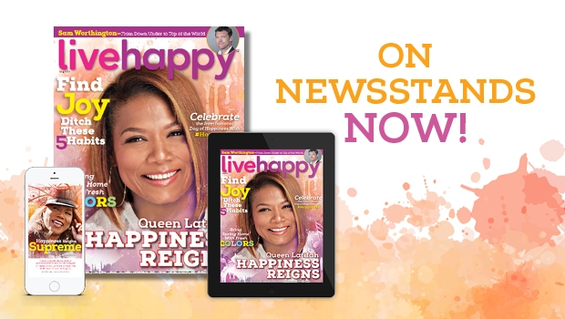 Queen Latifah on the cover of Live Happy magazine.