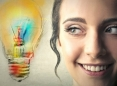 Woman with idea lightbulb