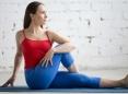 Woman doing an easy yoga pose.