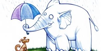 Cartoon Elephant with Umbrella
